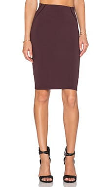 Stitched Detail Pencil Skirt in Merlot