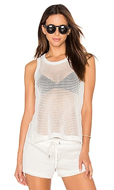 David Lerner Mesh Tank in Soft White