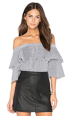 Off Shoulder Top in Charcoal Stripe