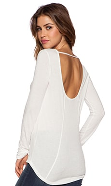 David Lerner Scoop Back Long Sleeve Top in White