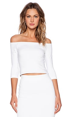 David Lerner Bardot 3/4 Sleeve Top in Soft White