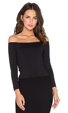 David Lerner Bardot 3/4 Sleeve Top in Classic Black