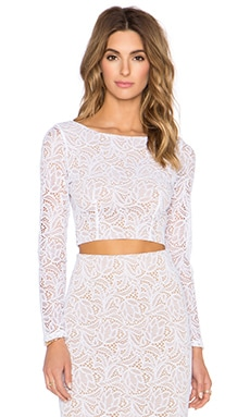 David Lerner x Chiqui Delgado Lace Crop Top in White