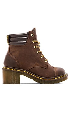 Dr. Martens Alexandra 6-Eye Padded Collar Boot in Dark Brown