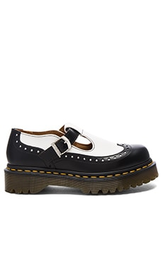 Demize Brogue T Bar Loafer en Noir & Blanc
