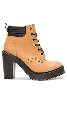 Persephone Padded Collar Boot en Tan & Noir