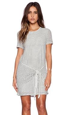 dolan Short Sleeve Tie Front Dress in Lost Coast Stripe