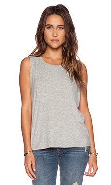 dolan Pleated Shoulder Tank in Silver