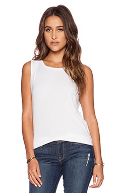 dolan Pleated Shoulder Tank in White