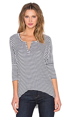 3/4 Sleeve Henley in Navy Stripe