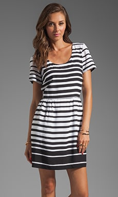 DV by Dolce Vita Adelaide Ascending Stripe T-Shirt Dress in Black/White