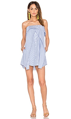 Olivia Dress in White & Blue Stripe
