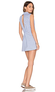 Flora Button Down Dress in White & Blue Stripe