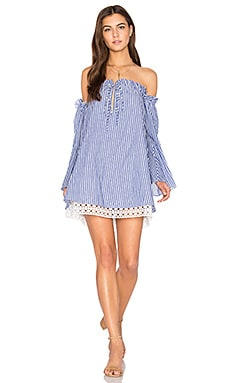 Delainey Dress in Blue & White Pinstripe