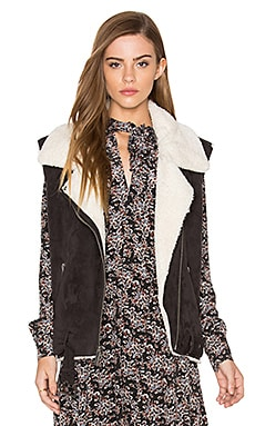 Maelle Faux Fur Vest in Anthracite & Cream