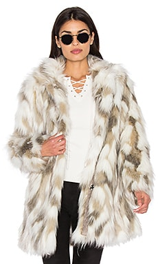 Frances Faux Fur Coat in Cream & Taupe