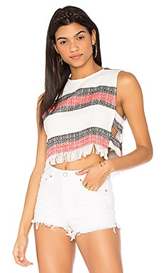 Kyra Top en Black, Cardinal & Ivory Stripe