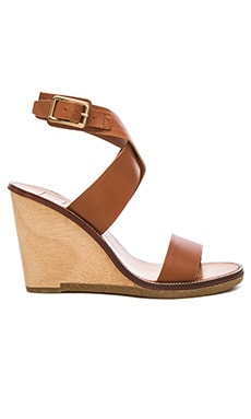 Havana Wedge en Cuir Marron