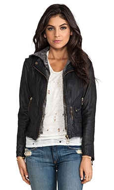 DOMA Vintage Zip Out Hood Leather Jacket in Black