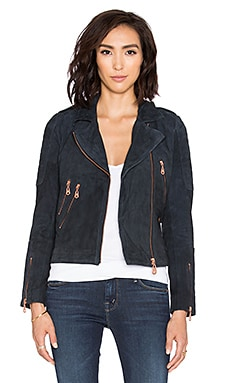 DOMA Suede Moto Jacket in Navy Blue