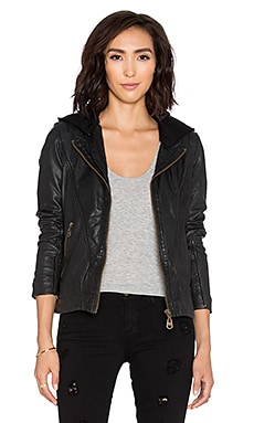 DOMA Hooded Moto Jacket in Black