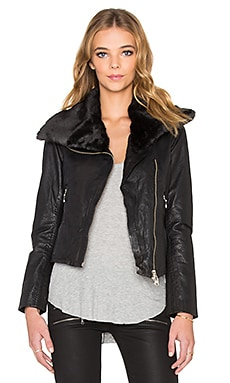 DOMA Faux Fur Collar Moto Jacket in Black