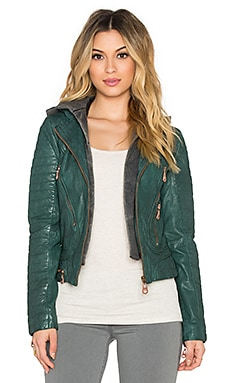 DOMA Hooded Leather Jacket in Deep Green