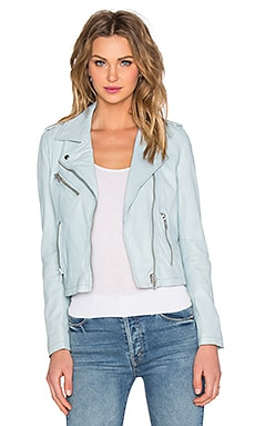 Biker Leather Jacket in Sky Blue