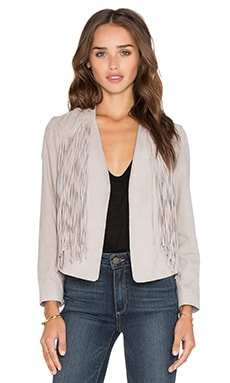 Suede Fringed Jacket en Gris Colombe