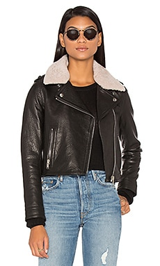 Detachable Lamb Shearling Fur Collar Aviator Moto Jacket in Schwarz