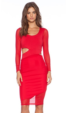 Donna Mizani Midi Cut Out Dress in Red