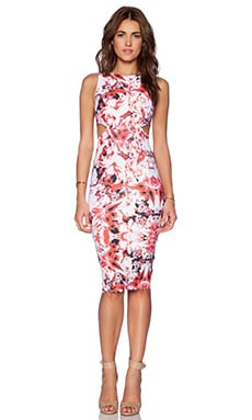 Donna Mizani Double Side Cut Out Midi Dress in Iris