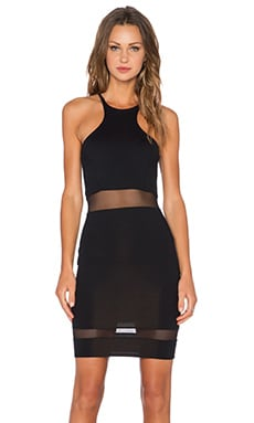 Racer Front Mini Dress in Black