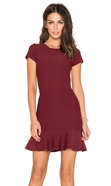 Donna Mizani Cap Sleeve Ruffle Mini Dress in Merlot