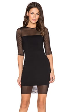 Donna Mizani 3/4 Sleeve Sheer Mini Dress in Black