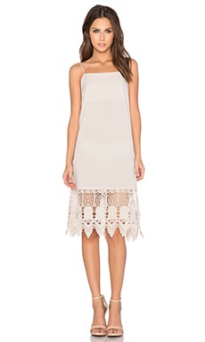 Donna Mizani Crochet Slip Dress in Beige