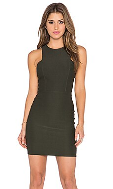Donna Mizani Front Panel Mini Dress in Olive
