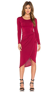 Donna Mizani Knot Front Midi Dress in Merlot