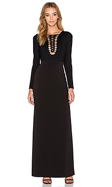Lace Up Maxi Dress in Black