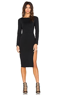 Donna Mizani Side Slit Midi Dress in Black