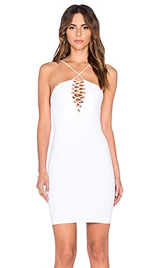 Donna Mizani Halter Lace Up Mini Dress in White