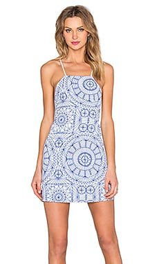 Donna Mizani Medallion Square Neck Flounce Dress in Lapis Medallion