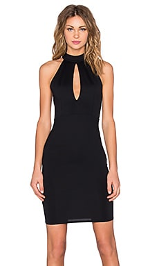 Donna Mizani Mock Neck Keyhole Mini Dress in Black