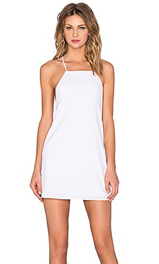 Square Neck Flounce Dress in White