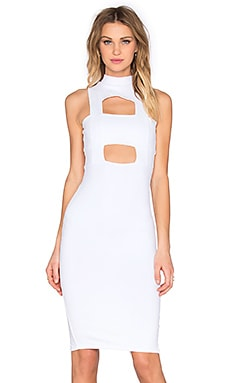 Banded Cut Out Midi Dress in White