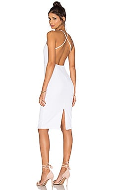 Square Neck Midi Dress in White