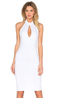 Donna Mizani Keyhole Mock Neck Midi Dress in White