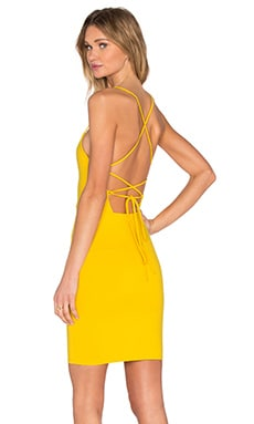 Donna Mizani Cross Back Mini Cami Dress in Canary