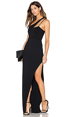 Donna Mizani X Front High Slit Gown in Black