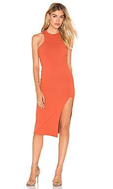 Donna Mizani Racer Front Midi Slit Dress in Spice